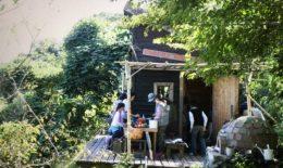小さな小屋と庭のあるコロニーヘーブ
